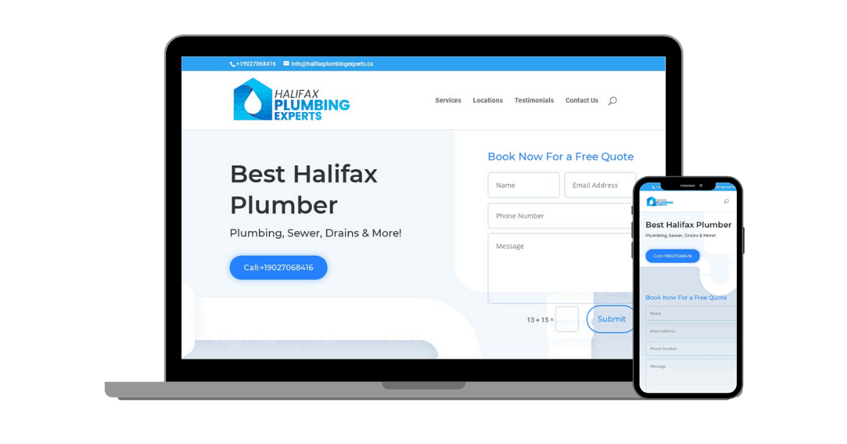 Halifax Plumbing Experts Website and Local SEO Image
