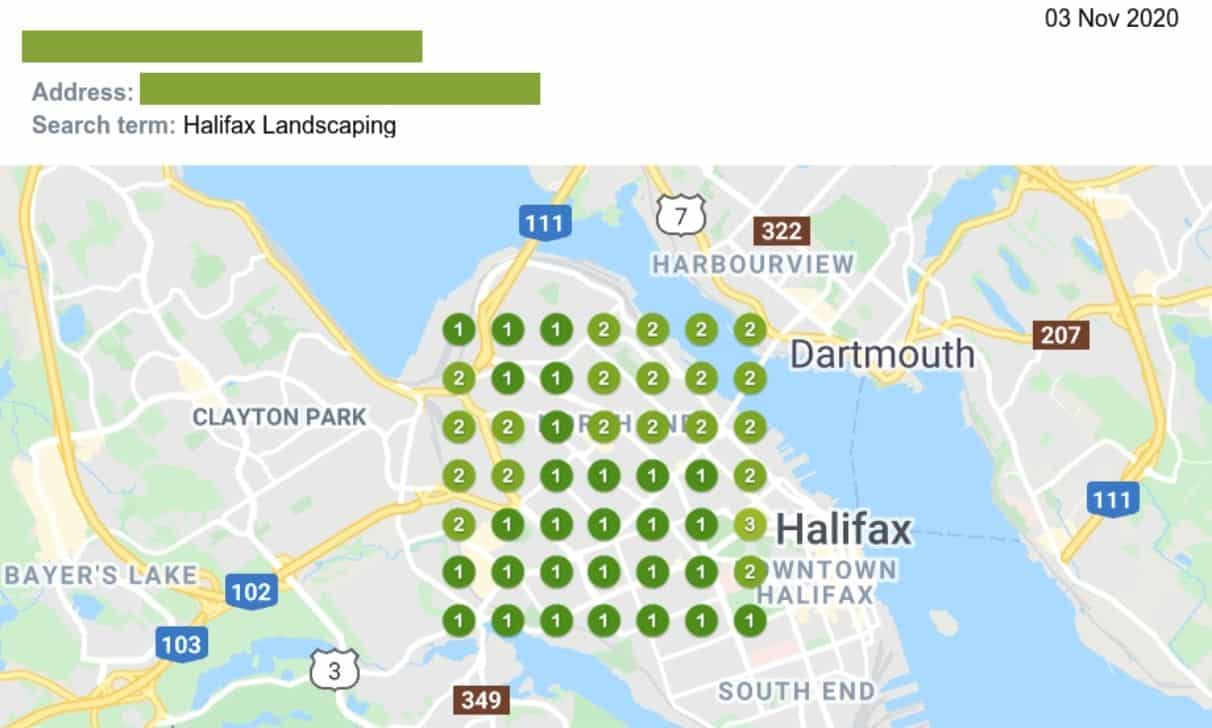 Halifax Landscaping SEO Map Results