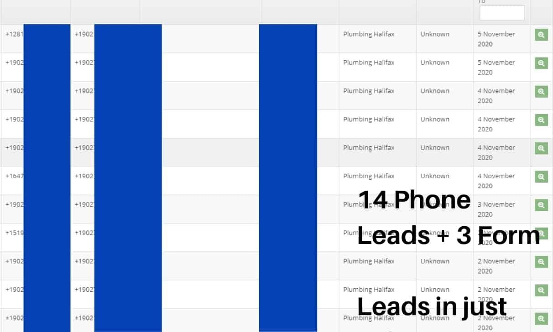 Plumbing SEO Case Study Phone Leads